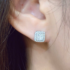 3-in-1 Cushion Shape Diamond Cluster Earrings & Jackets