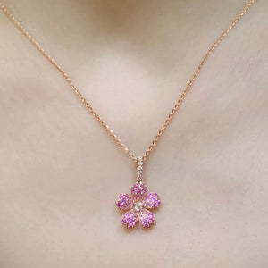 Pink Sapphire Cherry Blossom Pendant - Johnny Jewelry