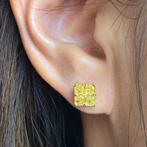 Fancy Yellow Diamond Earrings With Jackets