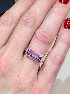 Geometric Pink Amethyst & Diamond Ring