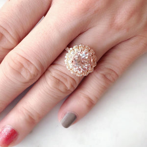 Lacy Morganite & Diamond Halo Ring