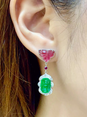 Carved Jade & Tourmaline Earrings - Johnny Jewelry