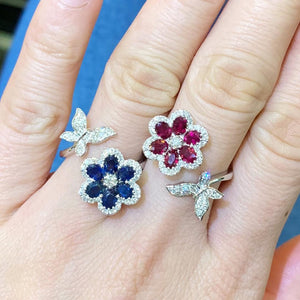 Ruby Flower & Diamond Butterfly Ring