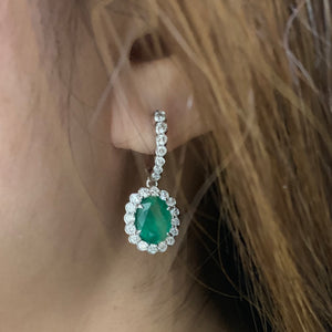 Emerald & Diamond Halo Drop Earrings - Johnny Jewelry