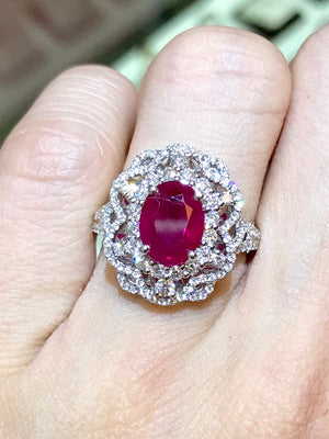 Lacy Ruby & Diamond Ring