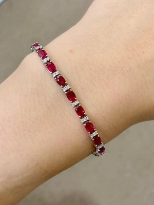 Ruby & Diamond Tennis Bracelet - Johnny Jewelry