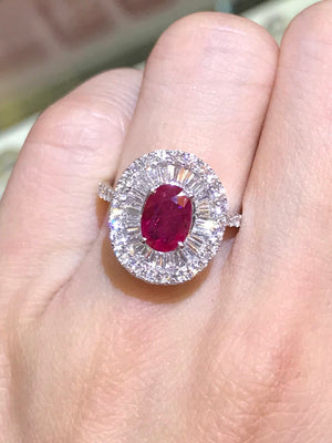 Diva Ruby & Baguette Diamond Ring