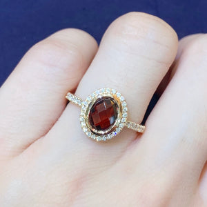 Garnet & Diamond Halo Ring - Johnny Jewelry