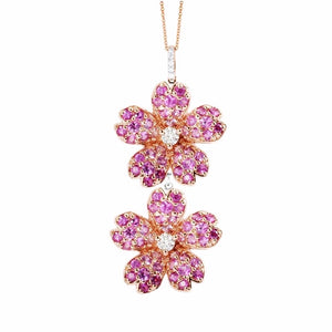 Double Pink Sapphire Cherry Blossom Pendant - Johnny Jewelry
