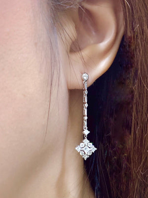 Art Deco Diamond Drop Earrings - Johnny Jewelry