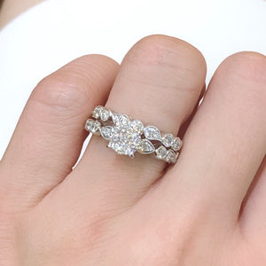 Vintage Style Diamond Cluster Set Engagement Ring - Johnny Jewelry