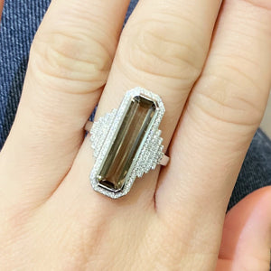 Art Deco Smoky Quartz & Diamond Ring