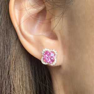 Clover Pink Sapphire & Diamond Earrings