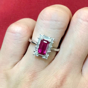 Art Deco Ruby & Baguette Diamond Ring - Johnny Jewelry