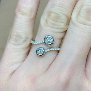 Two Stone Bypass Bezel Diamond Ring - Johnny Jewelry