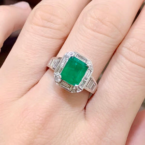 Art Deco Emerald & Baguette Diamond Halo Ring - Johnny Jewelry