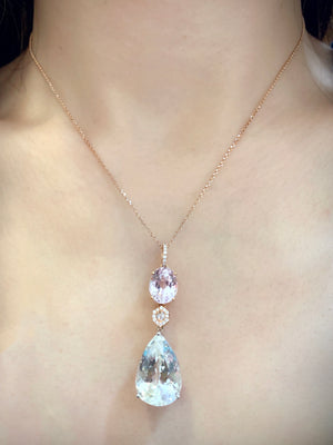 Trilogy Pink & Yellow Kunzite Pendant - Johnny Jewelry