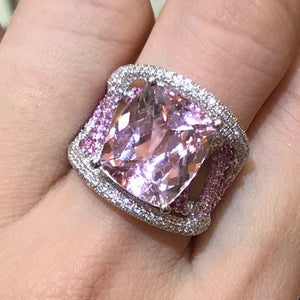 Kunzite & Pink Sapphire Cocktail Ring - Johnny Jewelry