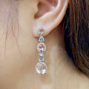 Diva Pink Morganite & Aquamarine Earrings - Johnny Jewelry