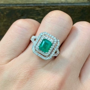 Double Halo Emerald Cut Emerald & Diamond Ring - Johnny Jewelry