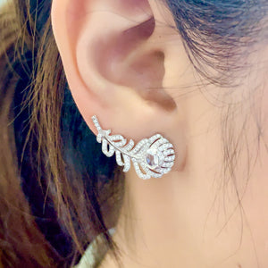 Art Deco 2 Way Diamond Feather Earrings & Ear Cuffs - Johnny Jewelry