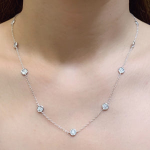 Bezel Set Diamond Cut Twelve Diamond Station Necklace - Johnny Jewelry