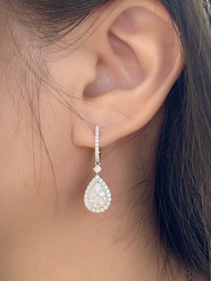 Illusion Set Teardrop Diamond Hoop Drop Earrings