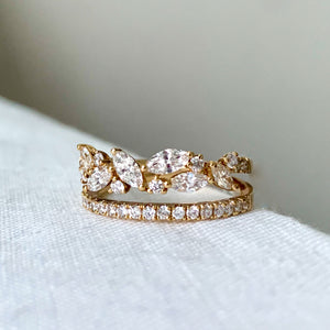 Stackable Marquise & Round Diamond Split Band