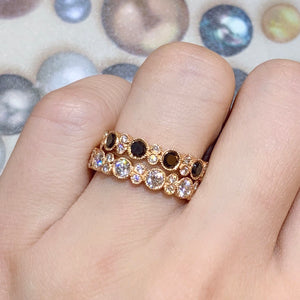 Bubble Black & White Diamond Ring