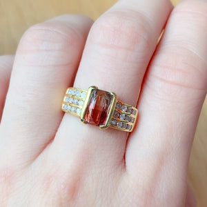 Semi Bezel Bi-color Tourmaline & Diamond Ring - Johnny Jewelry