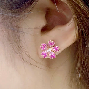 Pink Sapphire Cherry Blossom Earrings - Johnny Jewelry
