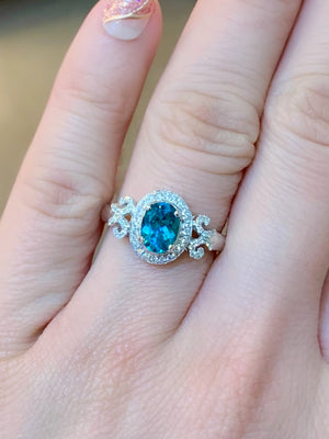 Vintage Apatite & Diamond Ring