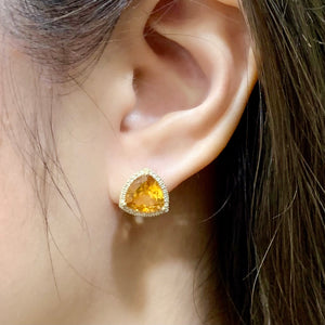 Trillion Citrine & Diamond Halo Studs