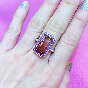 Two Tone Bi-color Tourmaline Pink Sapphire Halo & Diamond Ring