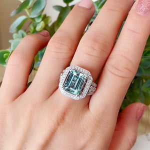 Diva Emerald Cut Aquamarine & Diamond Halo Ring