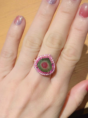 Watermelon Tourmaline Slice & Diamond Ring