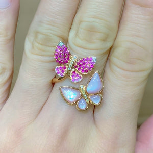 Pink Sapphire & Pink MOP Butterfly Ring - Johnny Jewelry