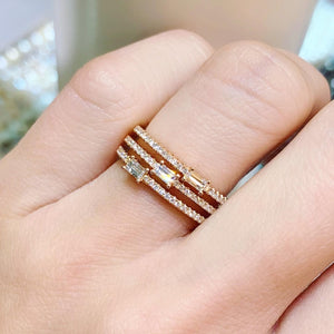 Three Band Stacked Baguette & Round Diamond Ring