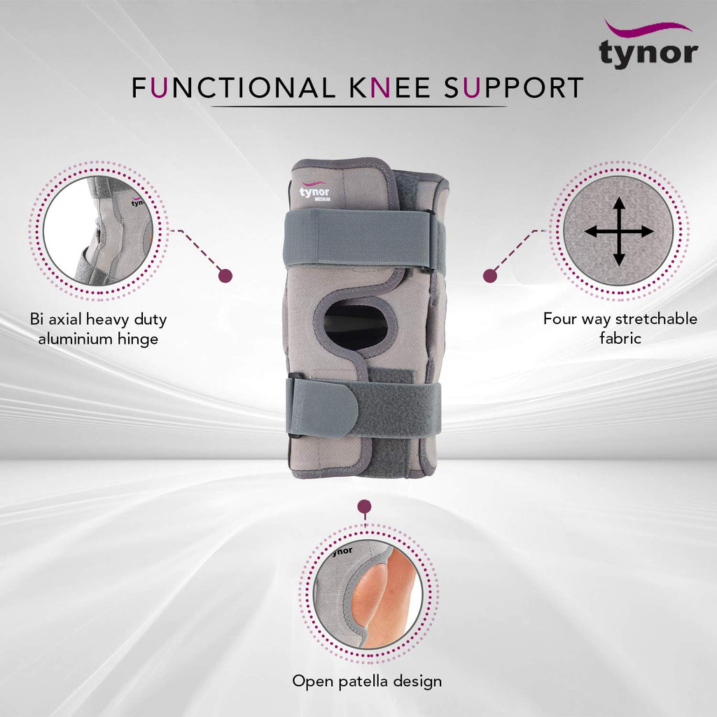 Tynor Functional Knee Support (Compression, Hinged, Strapping)