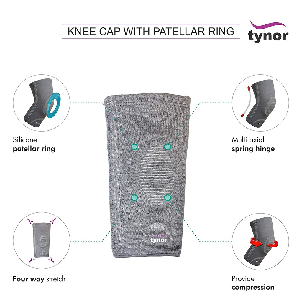 Tynor Knee Cap with Patellar Ring (Relieves Pain, 3D woven, Patellar Support, Uniform Compression, Comfortable, Anti Slip)