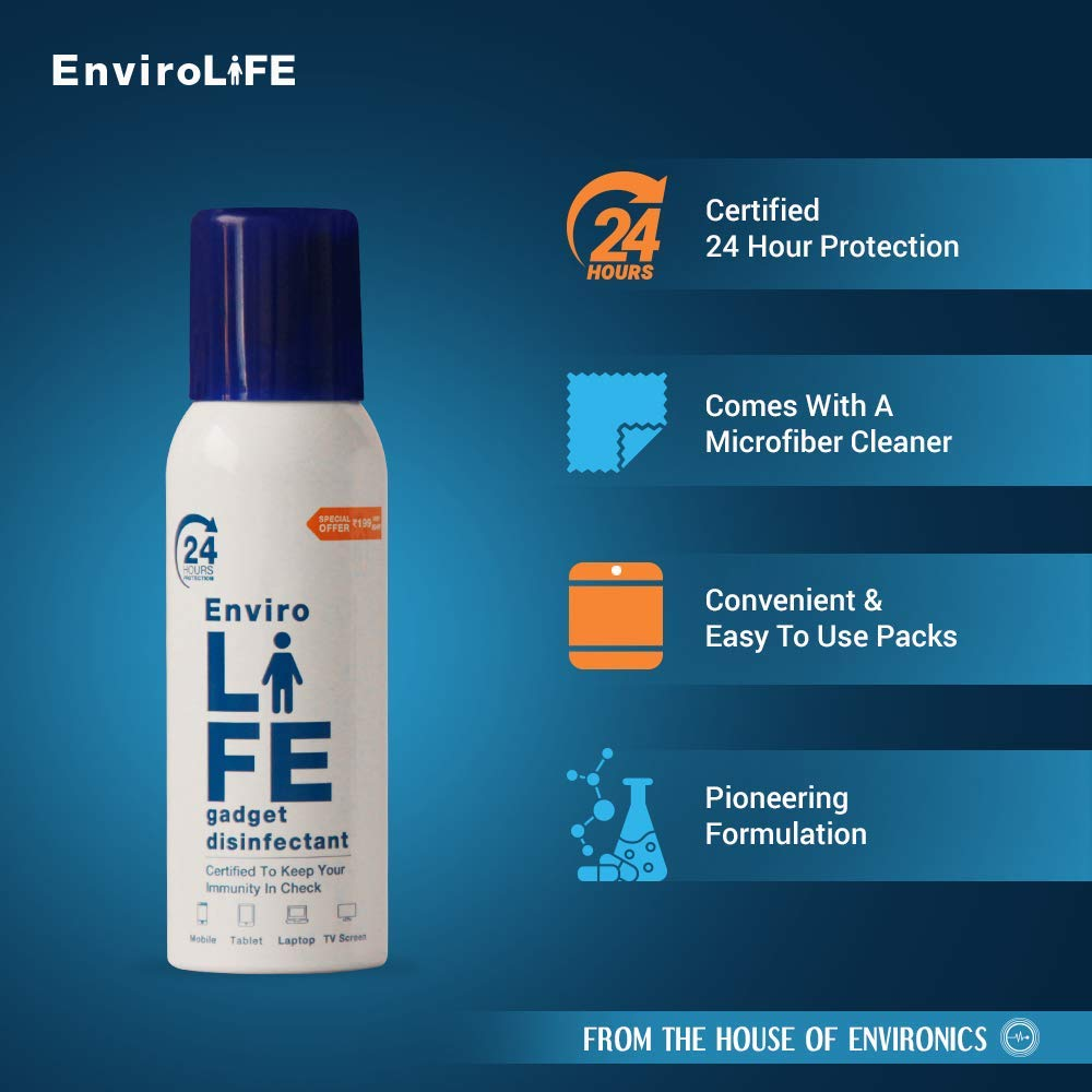 Envirolife - 24 hours protection with single spray Alcohol Based Gadget Disinfectant - 100ml with 950+ sprays & Mobile Envirochip