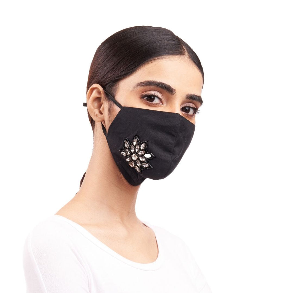 Maskarade -White Flower Emboridered Mask