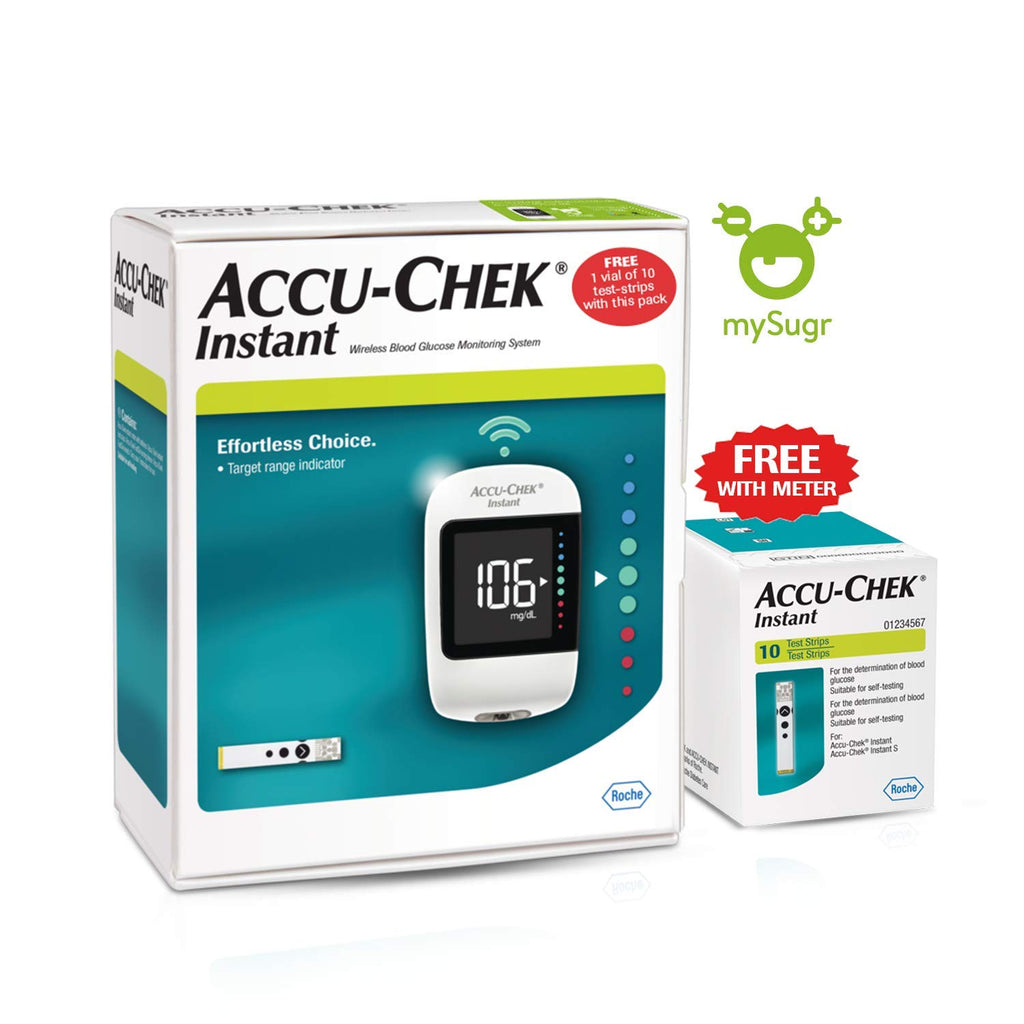 Accu-Chek Instant Glucometer with 10 test strips FREE