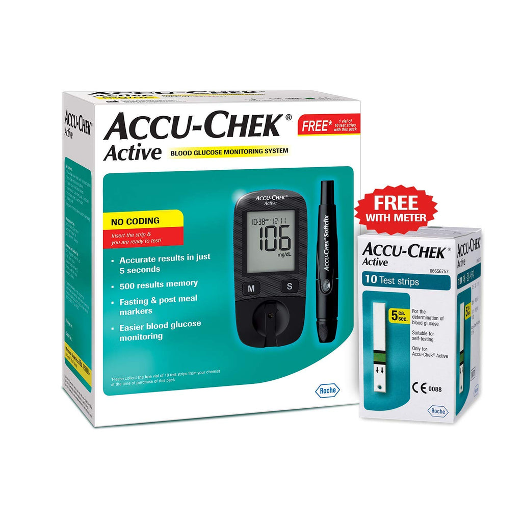 Accu-Chek Active Blood Glucose Meter Kit with Active Strips - 10 strips Free,