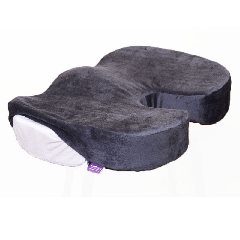 Viaggi Coccyx Orthopedic Memory Foam Seat Cushion for Relief from Lower Back Pain, Sciatica, Tailbone, Lumbar Pain, Pelvic Pressure and Hip Pain - Grey