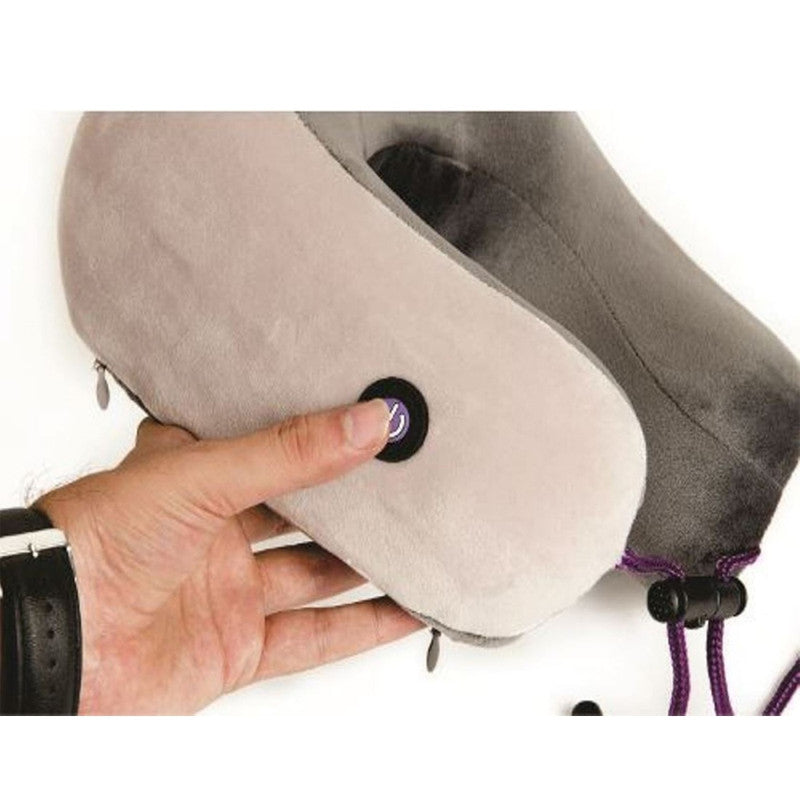 Viaggi Memory Foam 3 Mode Neck Massager Pillow for Shoulder & Neck Pain Relief Vibrating U Shape Massage Pillow - Coffee Grey