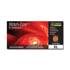 Nitri-Cor Z-Tread Disposable Nitrile Gloves Hi-Vis Orange - Box of 100