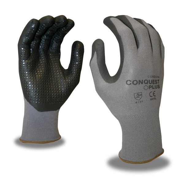 Conquest Plus™, Nitrile, Foam, Dots Gloves - 12 Pairs
