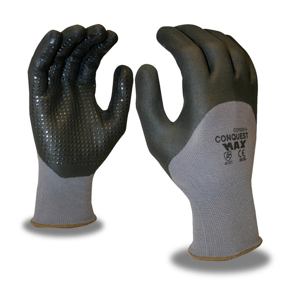 Conquest Max™, Nitrile, Foam, Dots Gloves -  12 Pairs