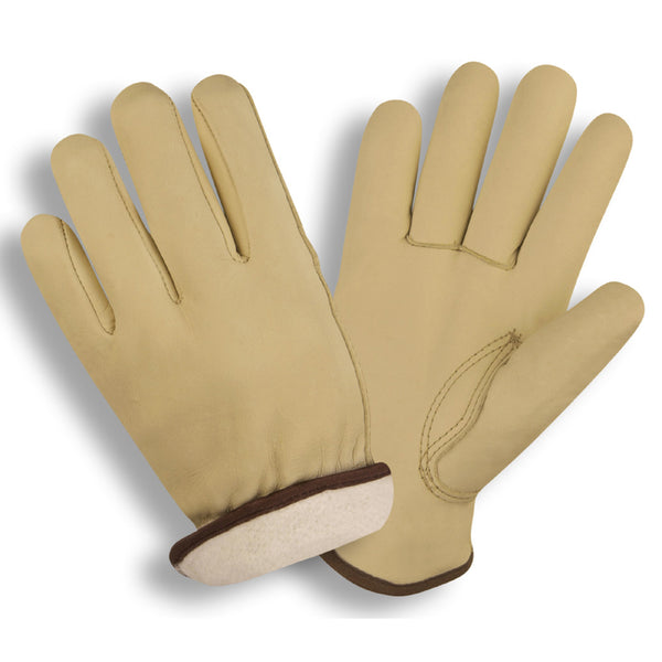 Standard Grain Cowhide - Thermal Knit Fabric Lined Driver Gloves - 12 Pairs